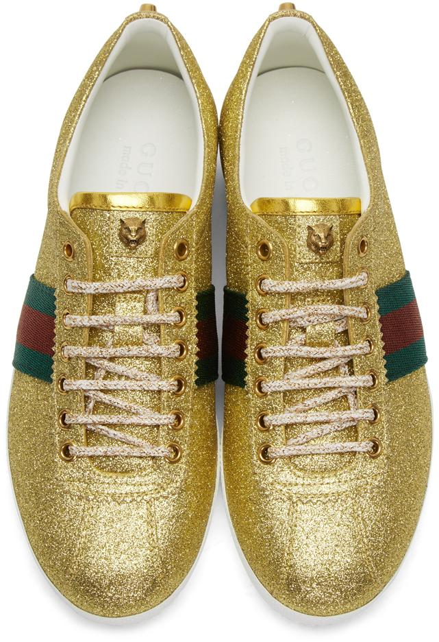 Gucci Leather Gold Glitter Bambi