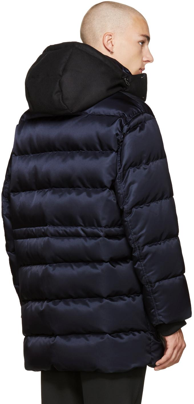 AMI Synthetic Navy Down Contrast Parka in Blue for Men