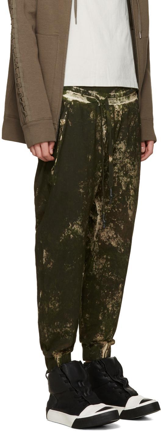 Boris Bidjan Saberi 11 Cotton Green Camo Wash Sarouel Lounge Pants for Men