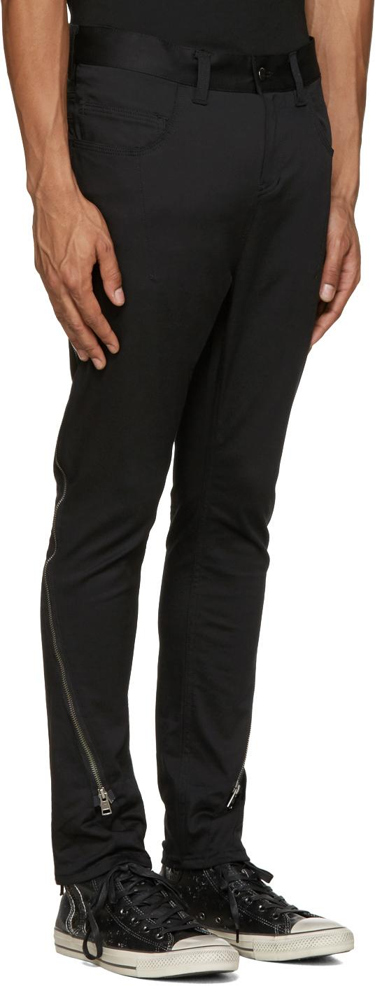 Diet Butcher Slim Skin Cotton Black Silhouette Zippered Trousers for Men