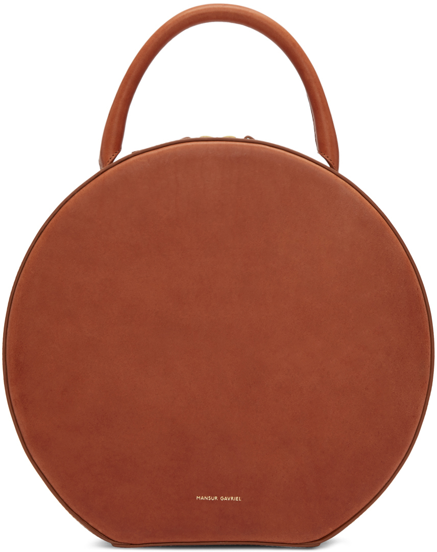 Mansur Gavriel Circle Leather Tote Bag In Brown Lyst