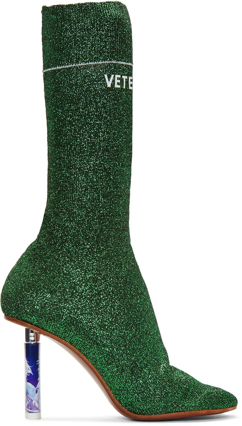 Vetements Synthetic Glitter Sock Knit Ankle Boots in Green