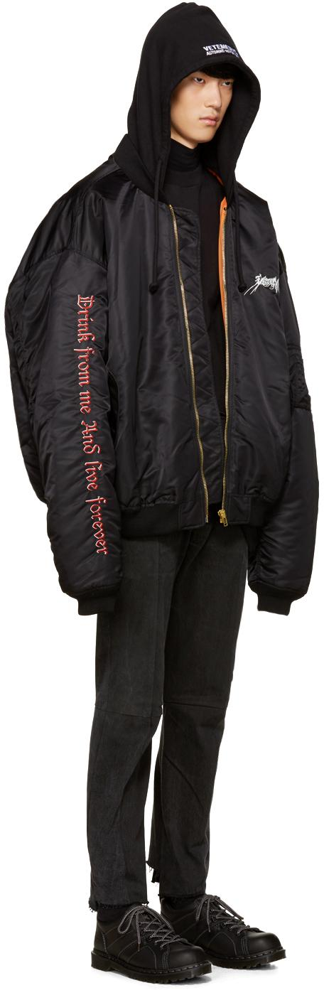 Vetements Cotton Black 'total Fucking Darkness' Bomber Jacket for Men