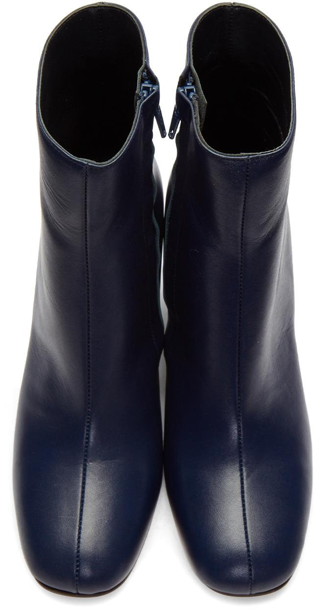 Maryam Nassir Zadeh Leather Navy Agnes Boots in Blue