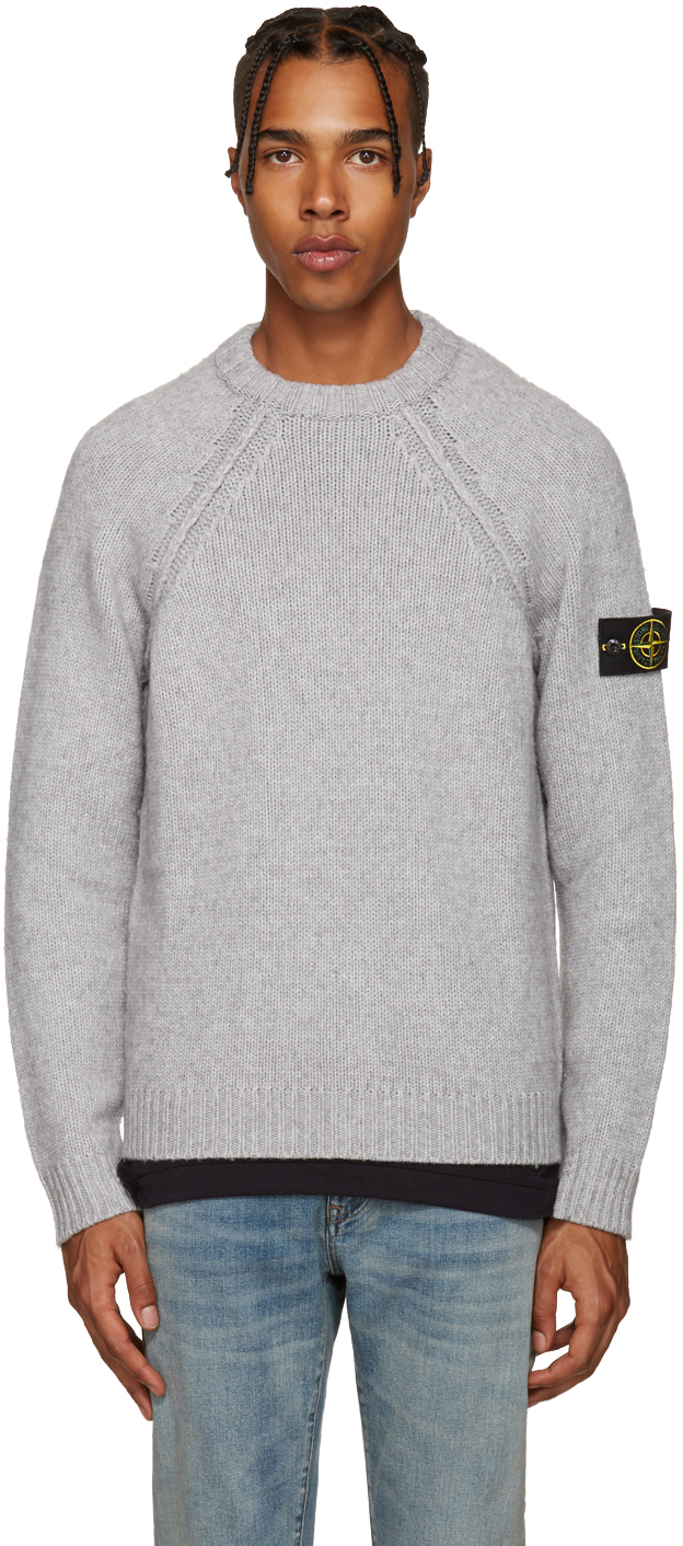 stone island grey knit sweater in gray for men grey lyst. Black Bedroom Furniture Sets. Home Design Ideas