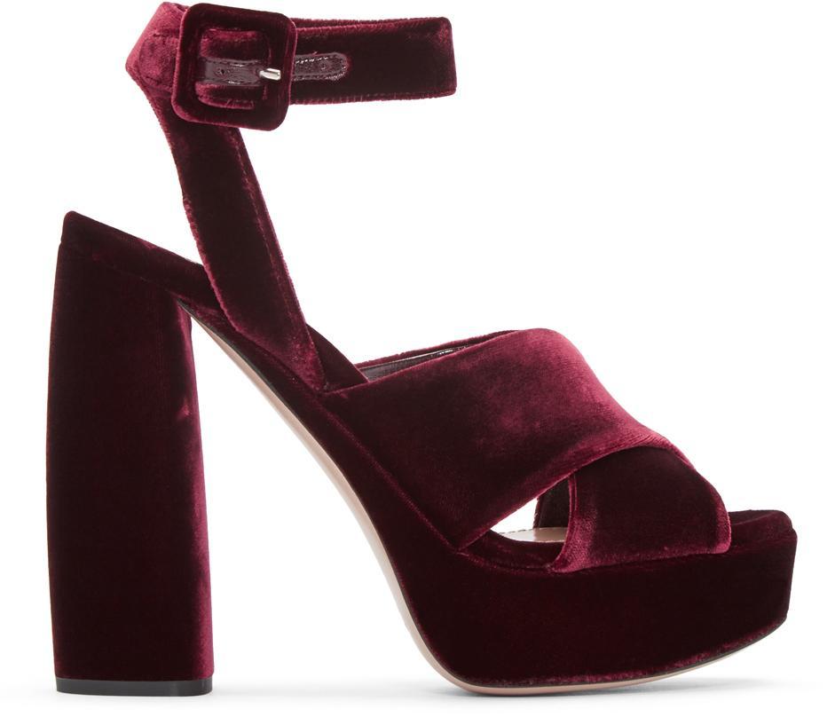 e269aa87eb5 Miu Miu Multicolor Burgundy Velvet Platform Sandals