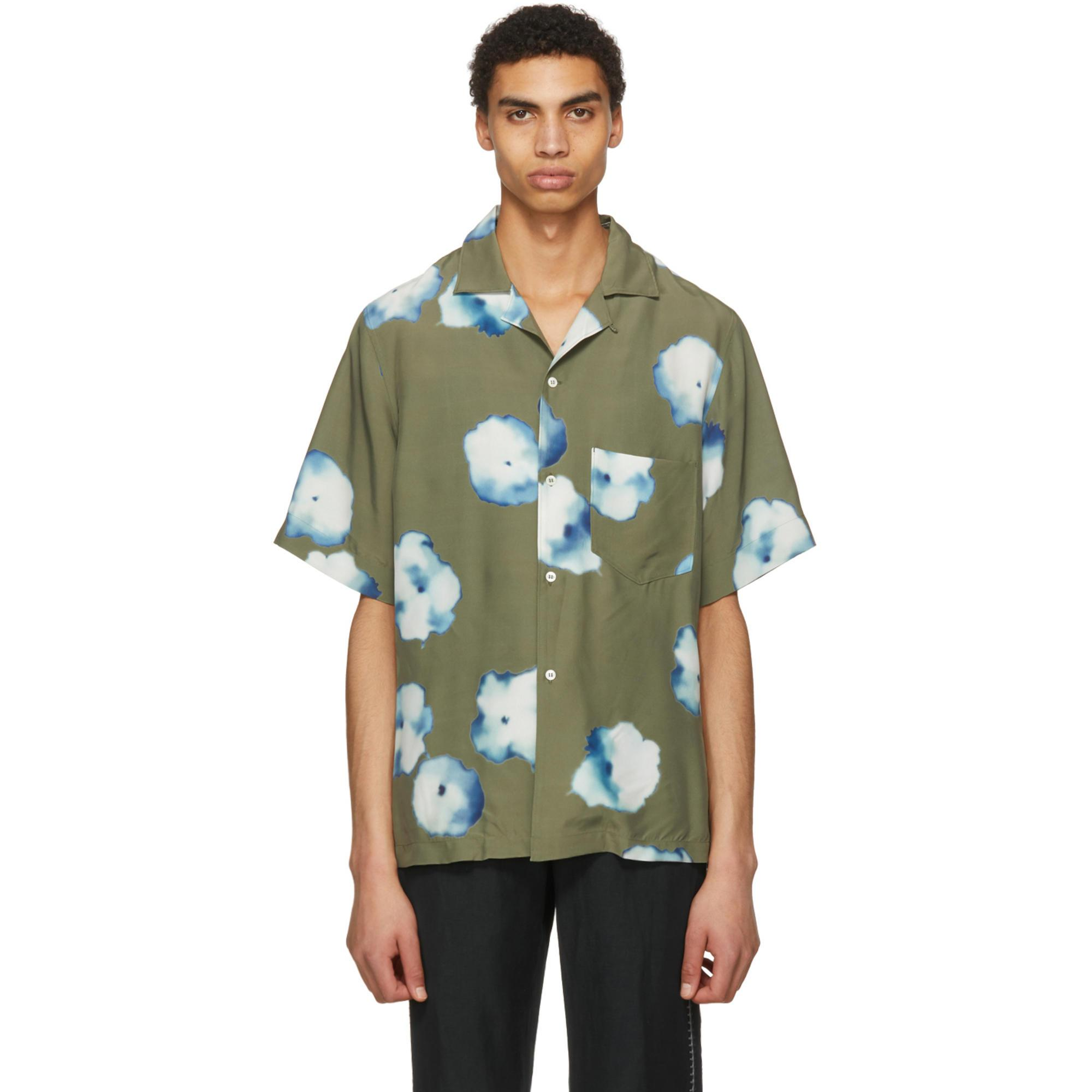 be26980267 Lyst - Acne Studios Green Elms Print Shirt in Green for Men