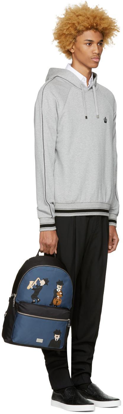 Dolce & Gabbana Synthetic Black & Blue Nylon Jazz Players Backpack for Men