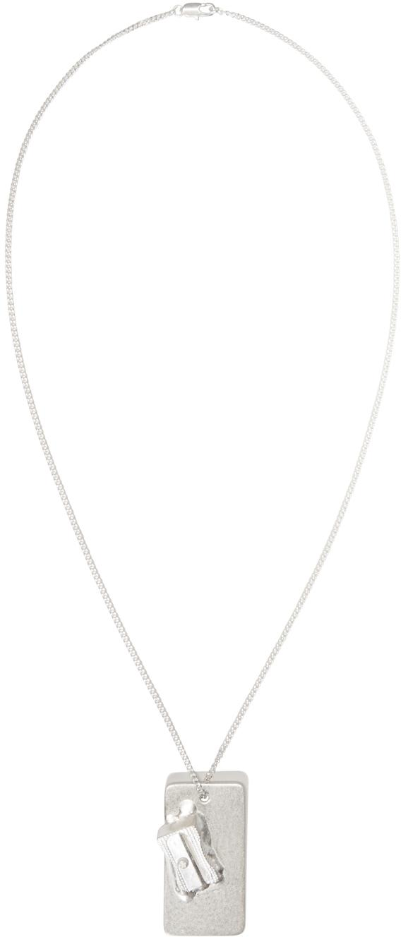 Maison Margiela Silver Pencil Sharpener Pendant Necklace in Metallic for Men