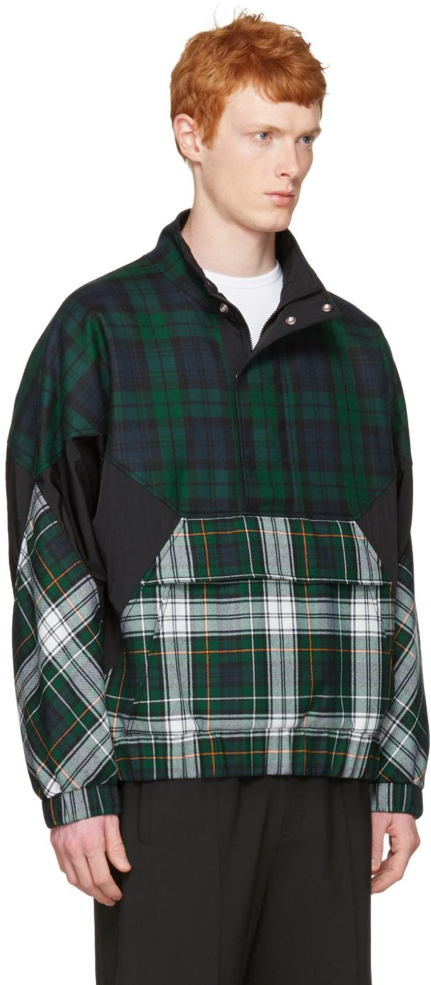 Alexander Wang Wool Green Panelled Check Jacket for Men