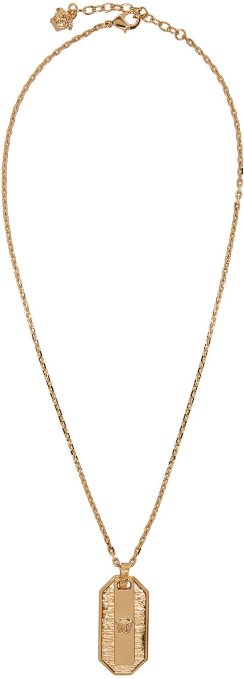 Lyst - Versace Gold Small Medusa Dog Tag Necklace in Metallic for Men 1904e184dc6