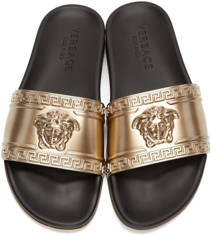 Versace Gold Medusa Slide Sandals In Metallic For Men Lyst