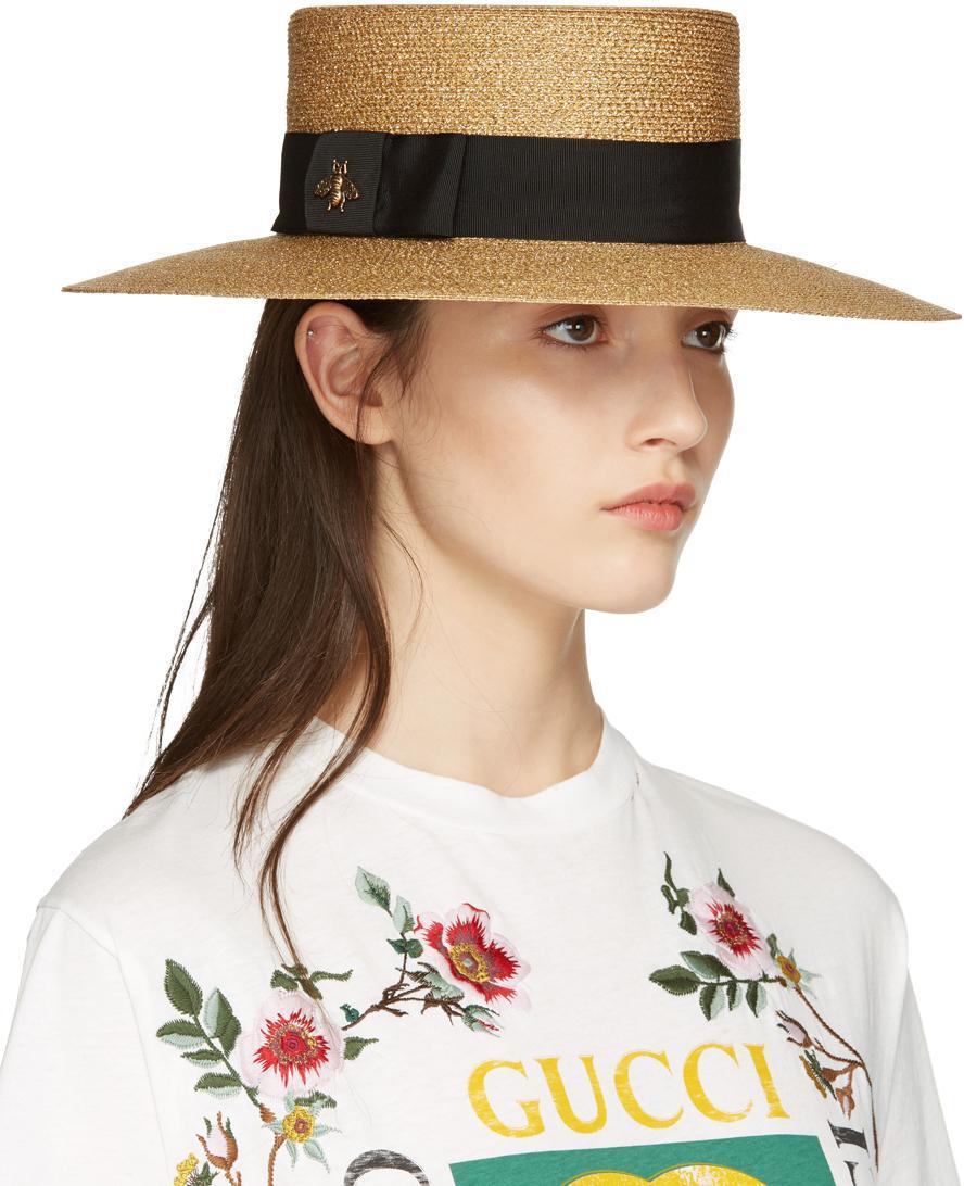 cbcff769cb9 Lyst - Gucci Gold Lurex Papier Hat in Metallic