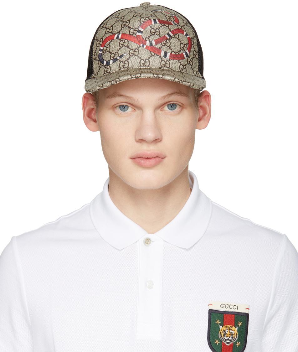 Lyst - Gucci Beige Logo   Snake Cap in Natural for Men 477ca4578c2