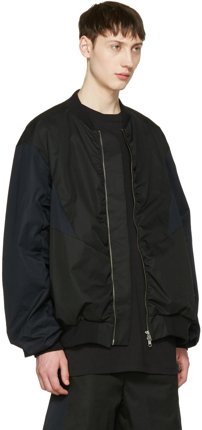Lad Musician Cotton Black & Navy Ma-1 Bomber Jacket for Men