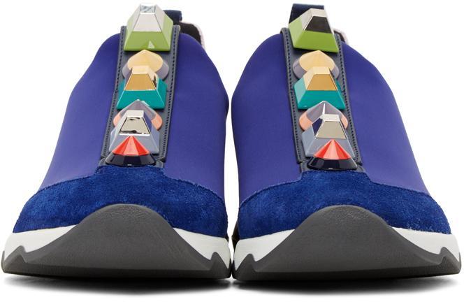 Fendi Leather Blue Rainbow Sneakers