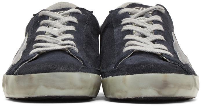 Golden Goose Deluxe Brand Navy Suede Superstar Sneakers in Blue
