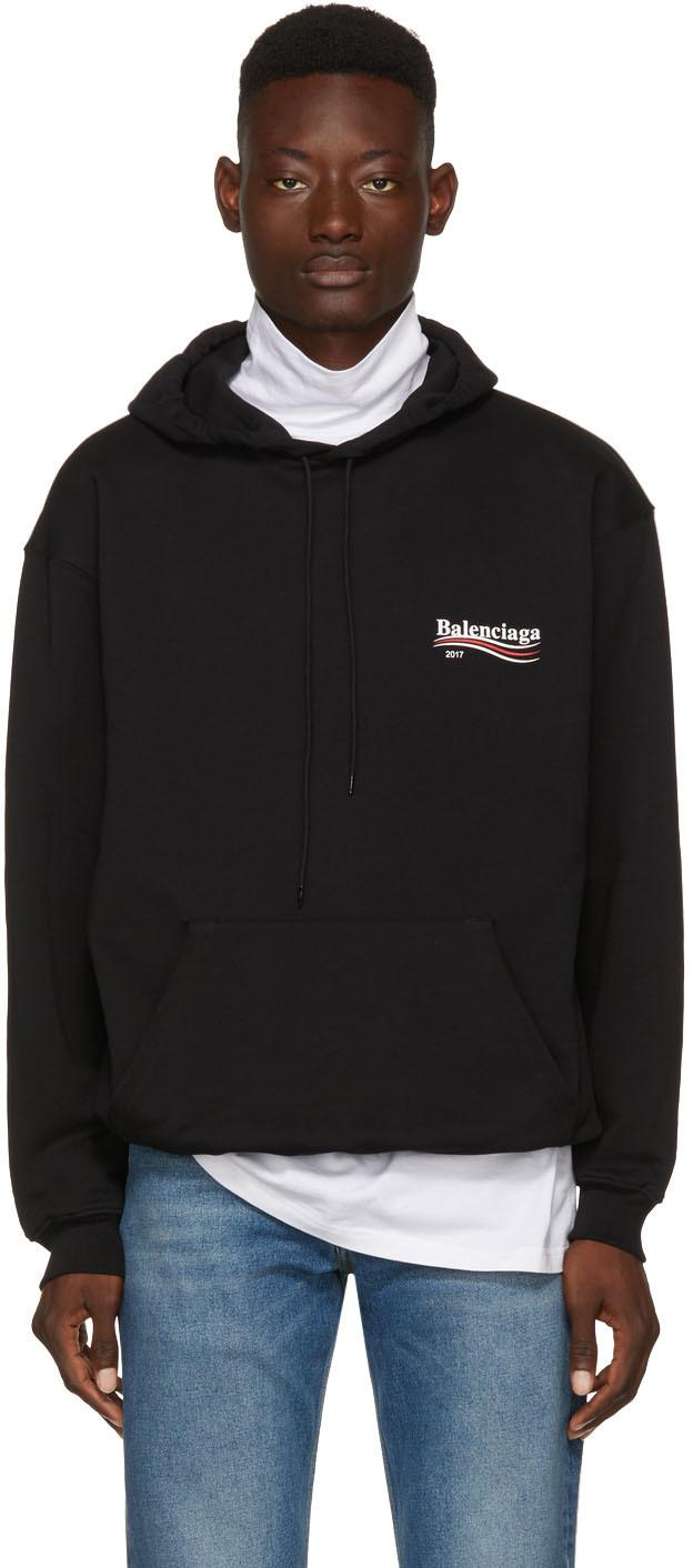 652cb0d62c0 Lyst - Balenciaga Black Campaign Logo Hoodie in Black for Men