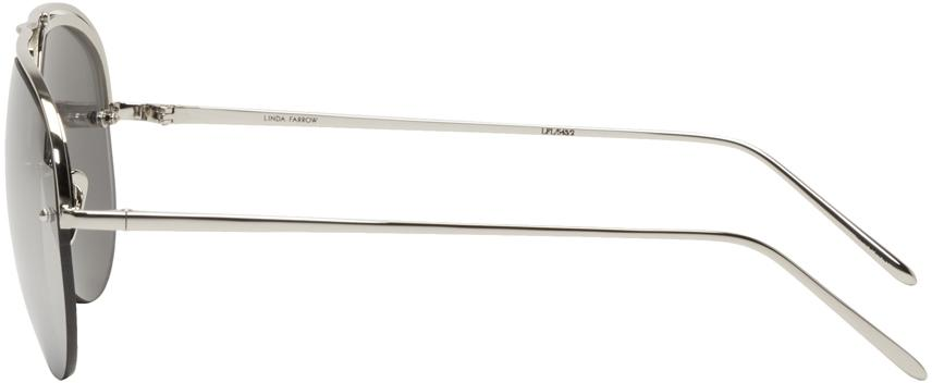 Linda Farrow White Gold 543 Aviator Sunglasses for Men