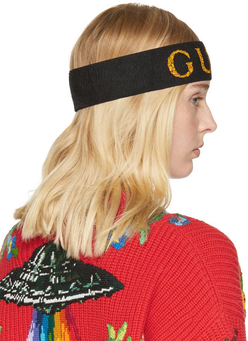 Gucci Synthetic Black Logo Headband Lyst