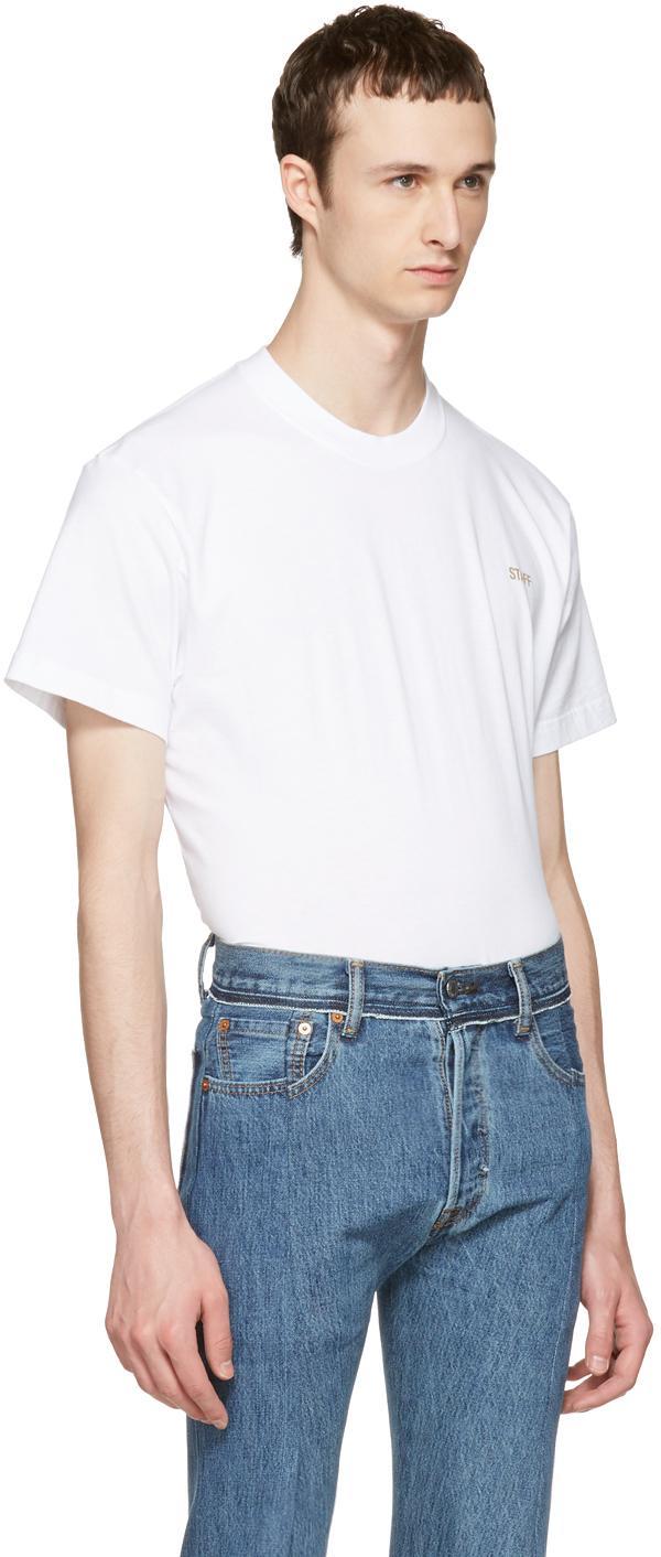 Vetements white basic 39 staff 39 t shirt in white for men lyst for Vetements basic staff t shirt