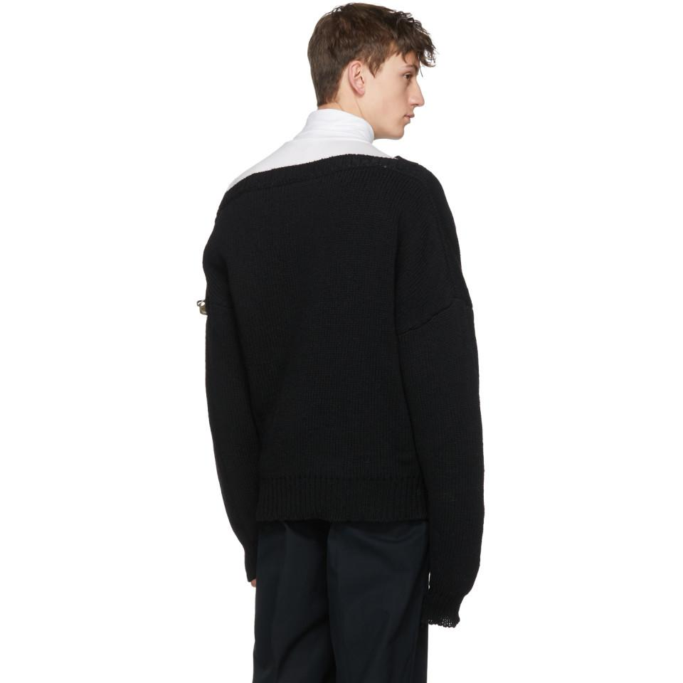 Black Boatneck Buckles Sweater Raf Simons Sale Looking For Outlet 2018 Wholesale Online In China Online Big Discount Cheap Online Ams1D1t