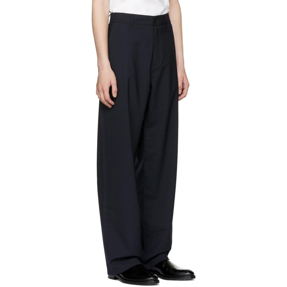 Hope Wool Navy Wind Trousers in Blue for Men