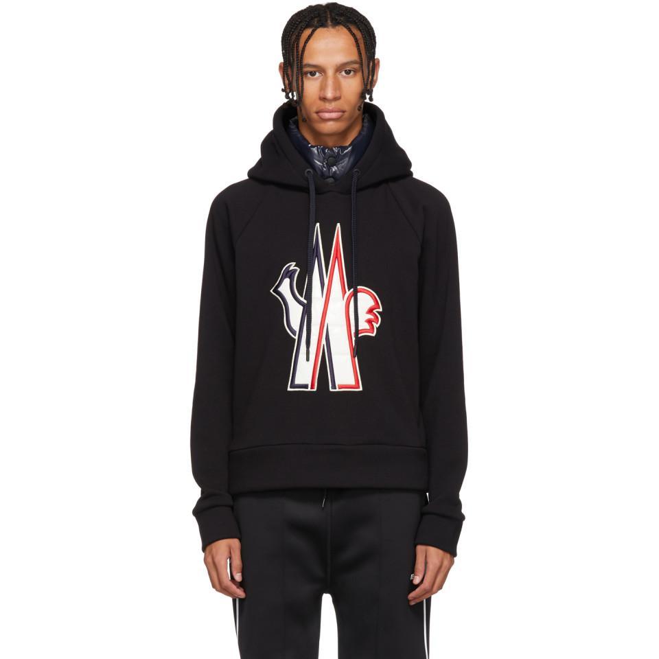 d8546d8d5909 Lyst - Moncler Grenoble Black Embroidered Logo Hoodie in Black for Men