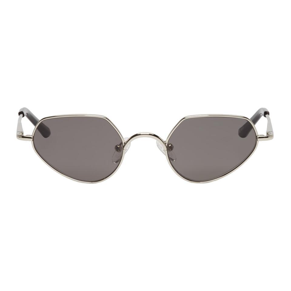 02e0f0aaa1 Dries Van Noten. Women s Metallic Silver Linda Farrow Edition Angular 176  C1 Sunglasses