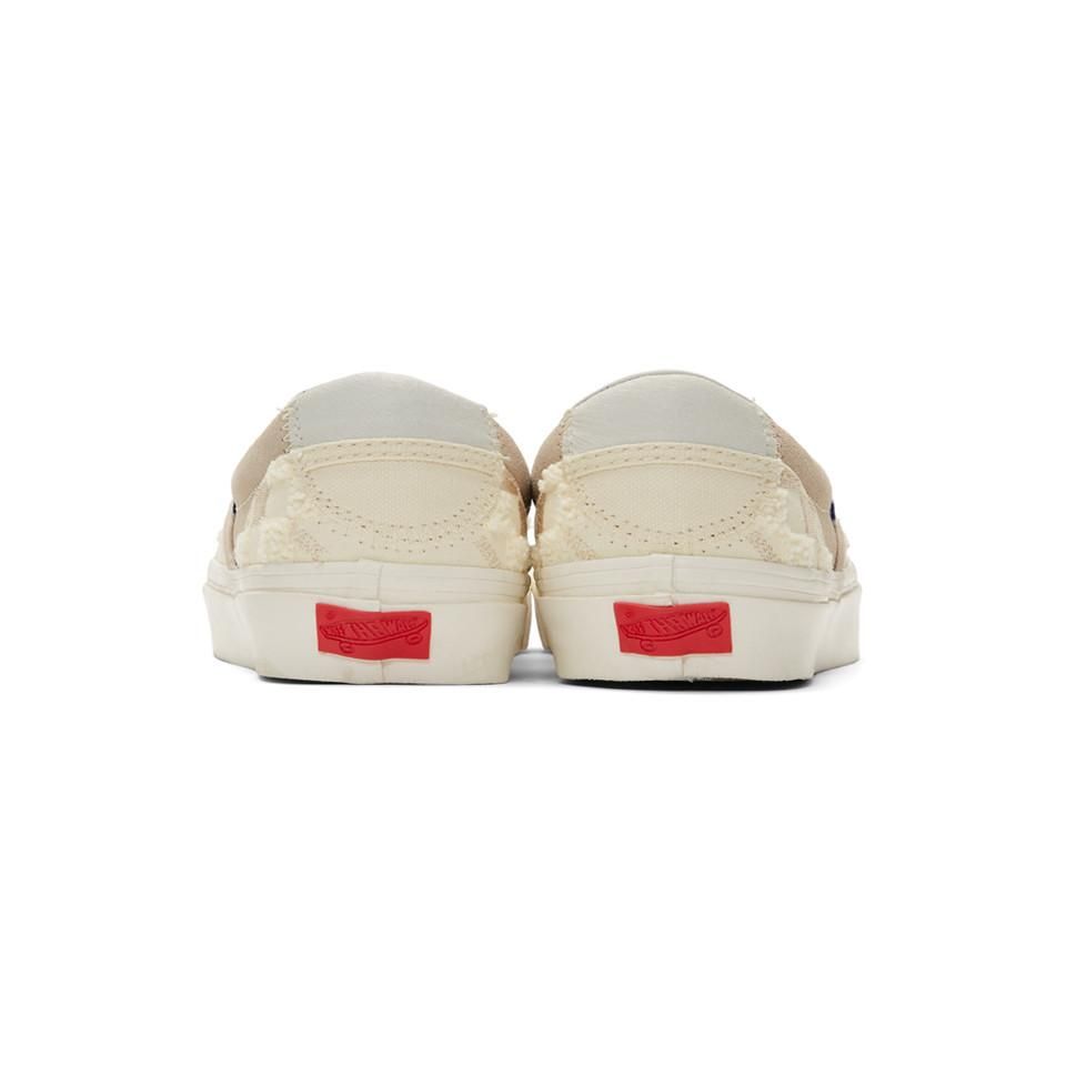 Off-white And Tan Bricolage Classic Slip-on Sneakers