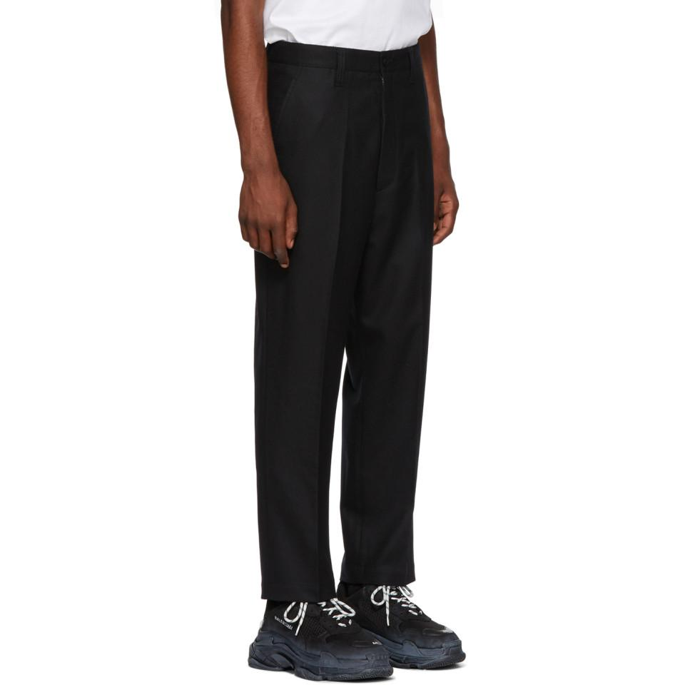 Junya Watanabe Black Flannel Trousers for Men