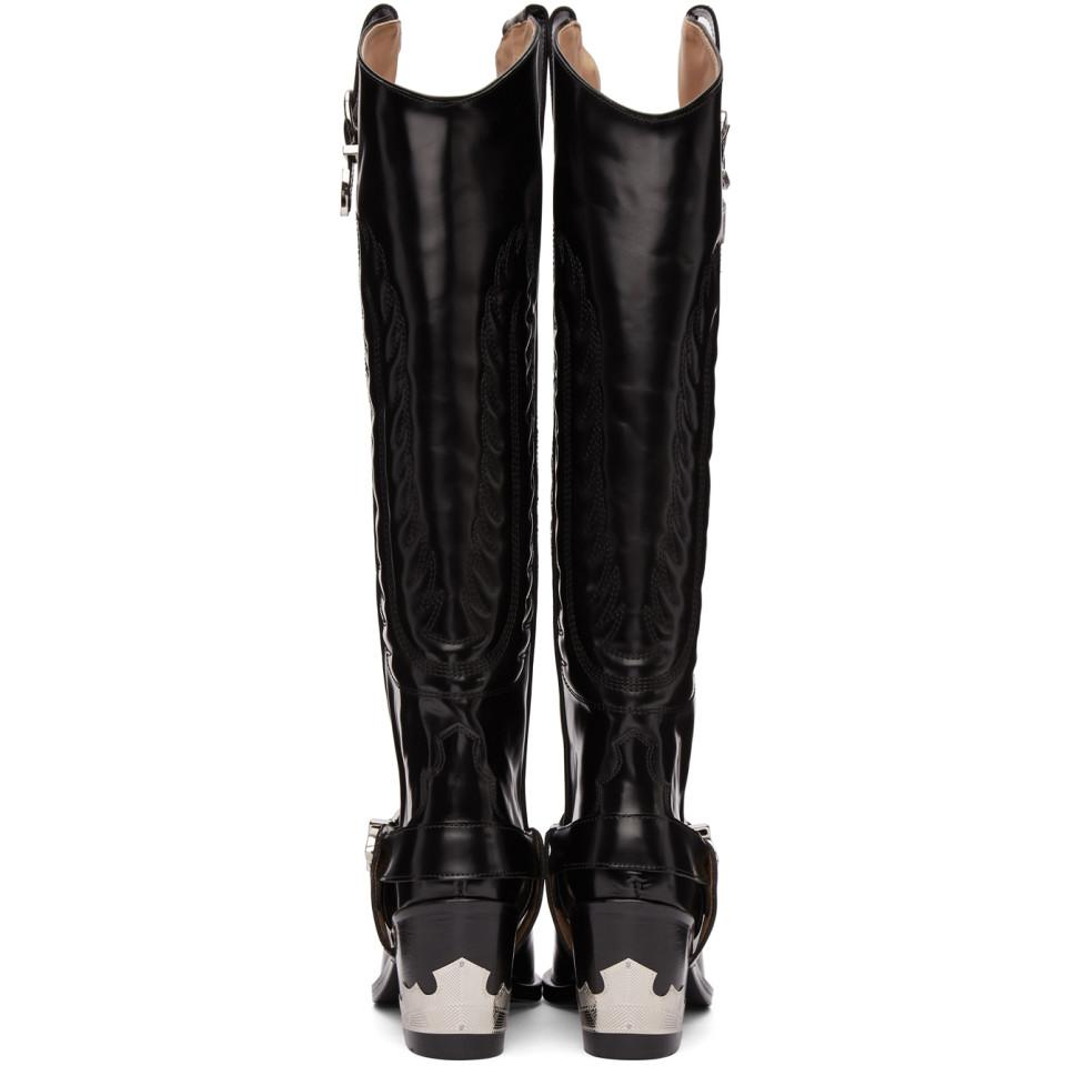 Toga Leather Black Tall Cowboy Boots
