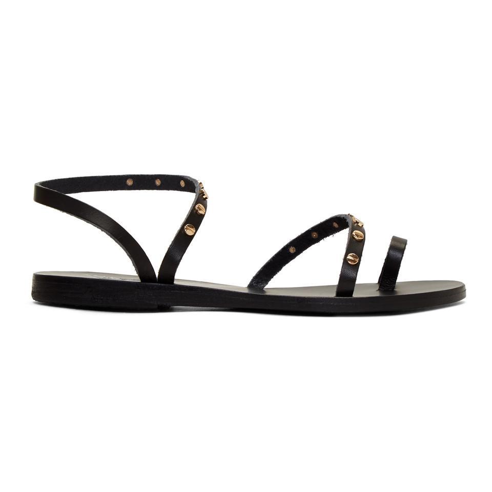 Ancient Greek Sandals Black Apli Eleftheria Nails Sandals DMsf01