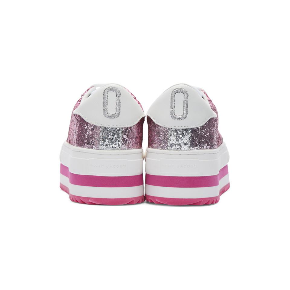 Marc Jacobs Rubber Pink Grand Glitter Platform Sneakers