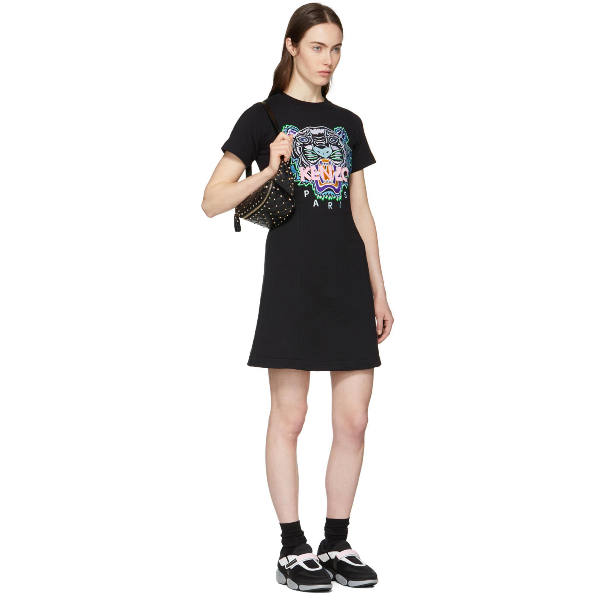 Lyst - Robe noire Tiger Flared T-Shirt KENZO en coloris Noir 6cbc18ef9b07