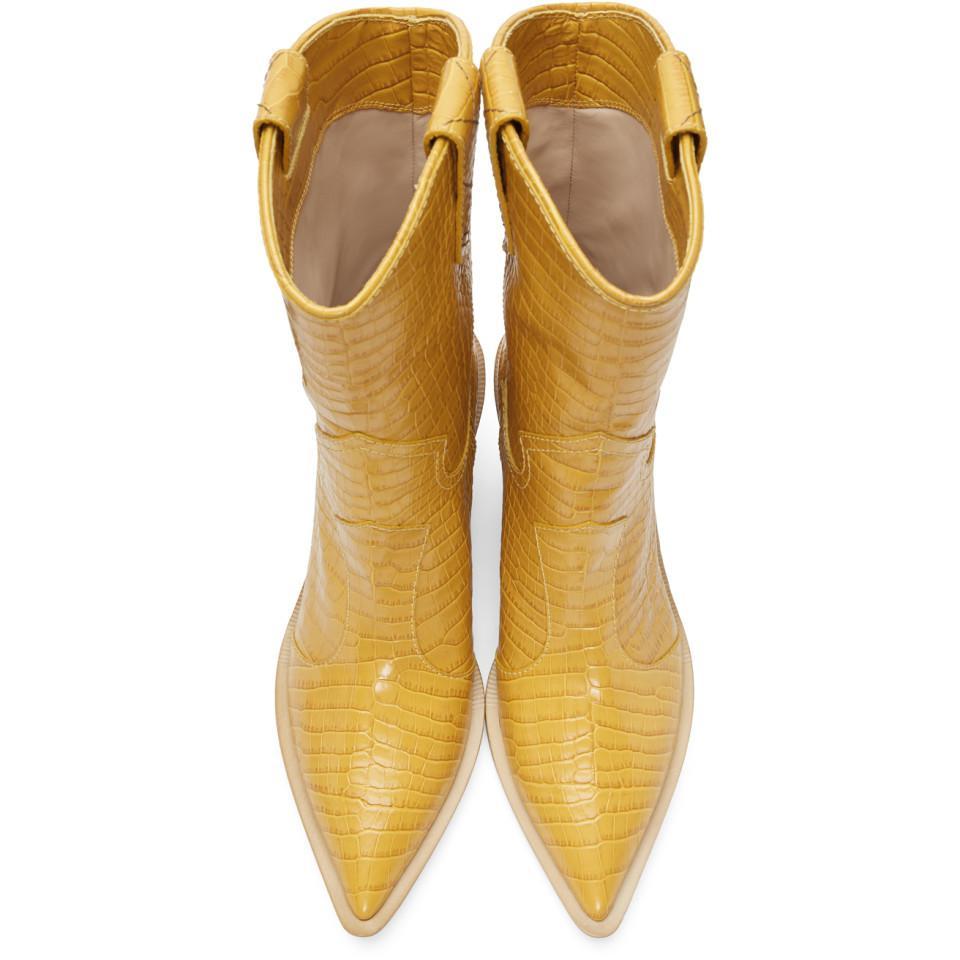 Fendi Leather Yellow Croc Cowboy Boots