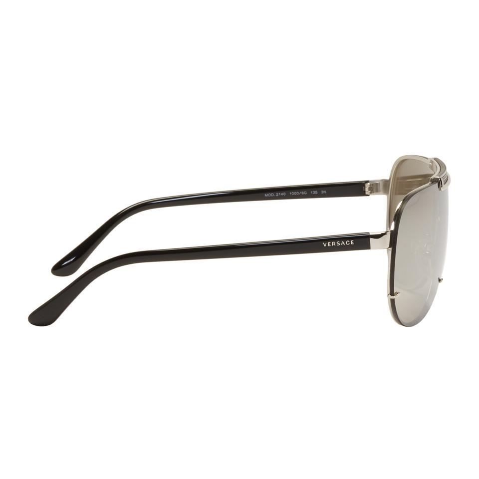 78490ad11f Versace Silver Rock Icon Greca Aviator Sunglasses in Metallic for ...