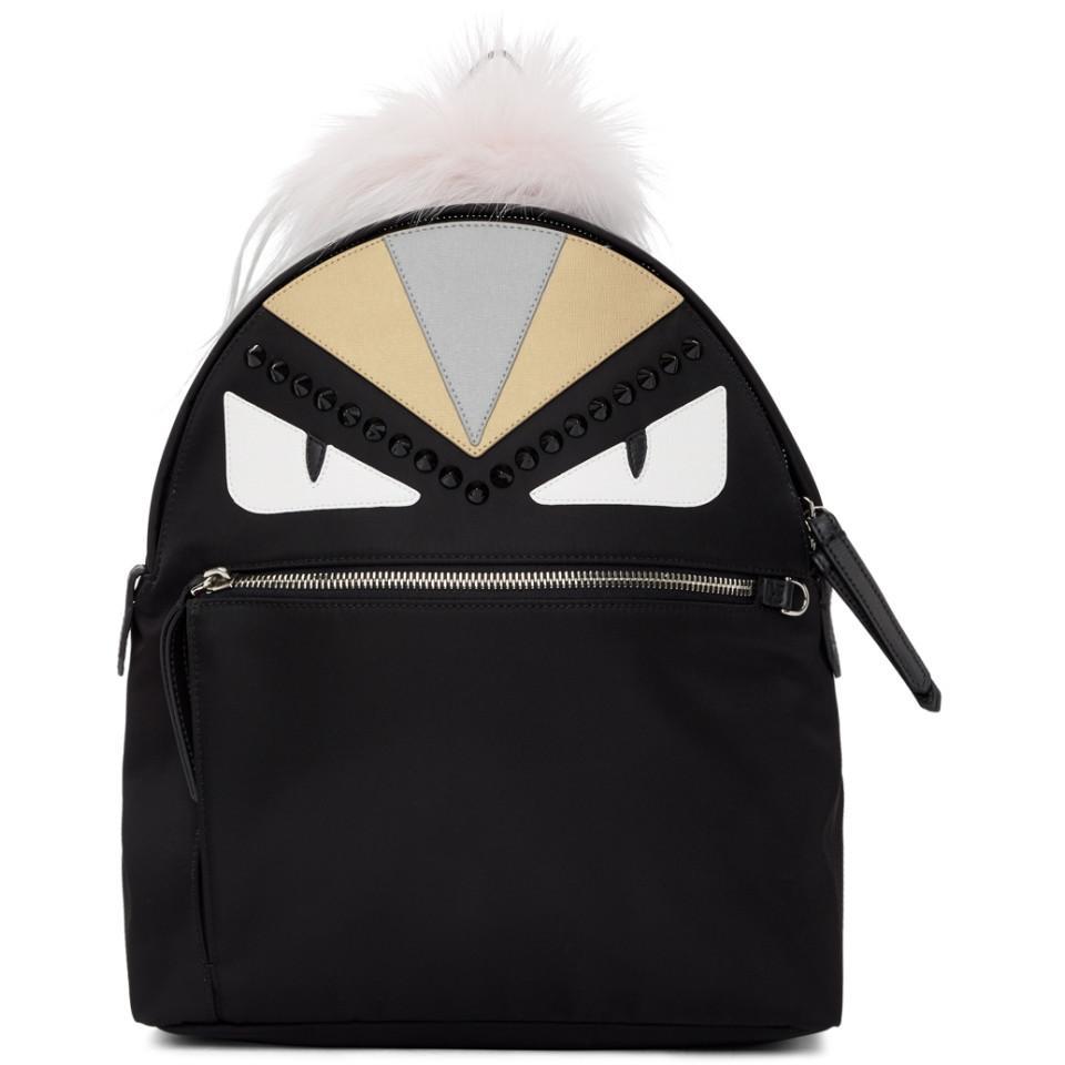 Lyst - Sac a dos noir Bag Bugs Zaino Fendi en coloris Noir 8b22d73ef3a