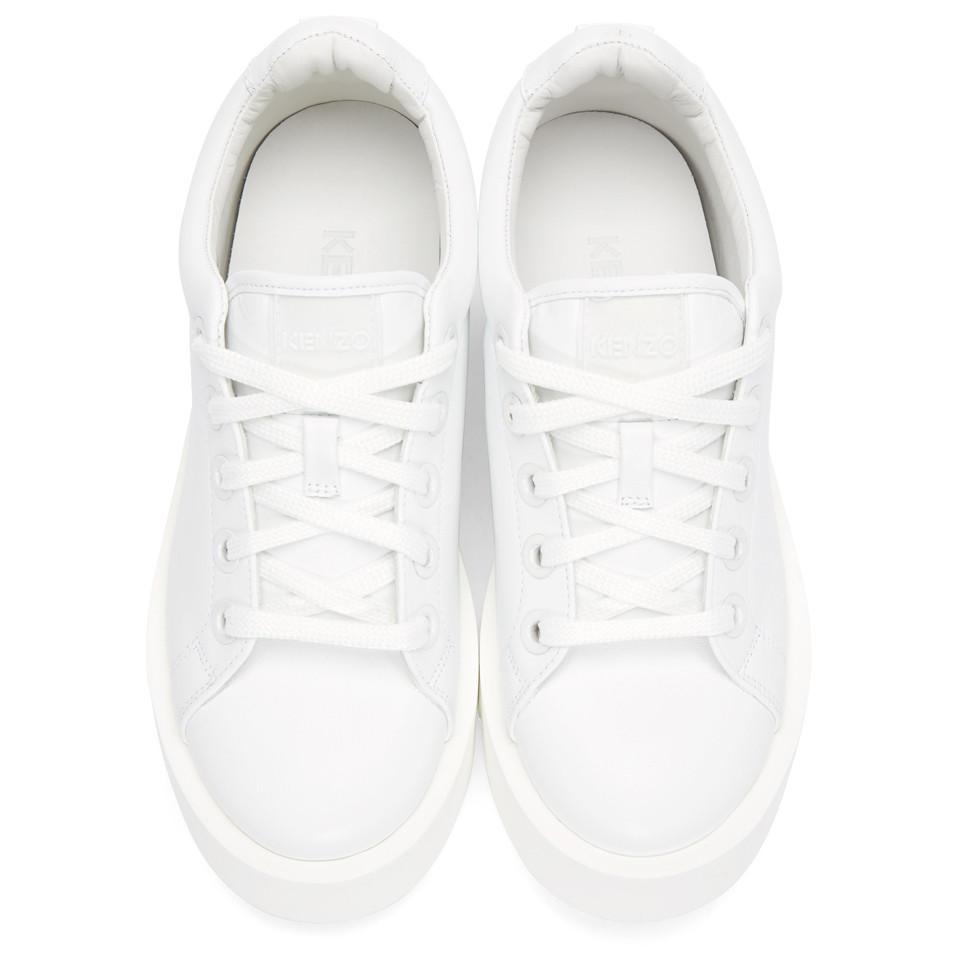 KENZO K-wave Leather Sneakers in White
