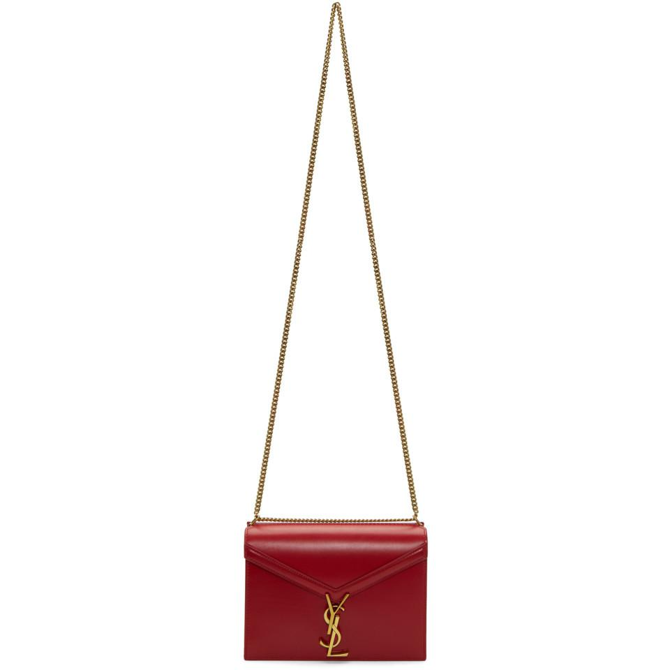 Lyst - Saint Laurent Red Cassandra Monogramme Chain Bag in Red b5fa24d7def66