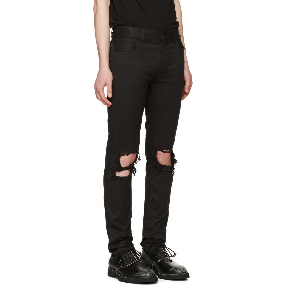 Christian Dada Cotton Black Signature Super Skinny Knee Trousers for Men