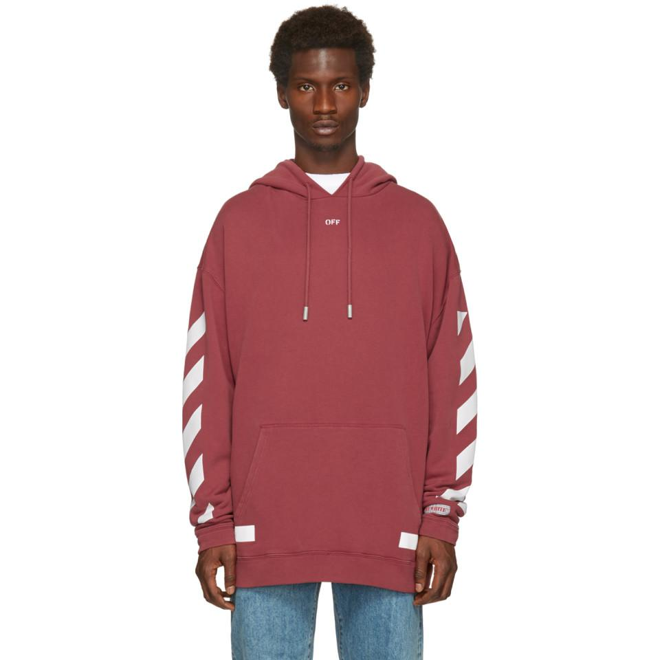 956b2f990071 Lyst - Pull a capuche rouge Diagonal Arrows Over Off-White c o ...