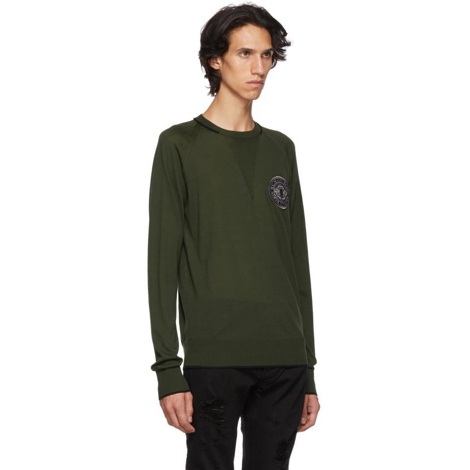 Balmain Wool Green Badge Logo Sweater for Men