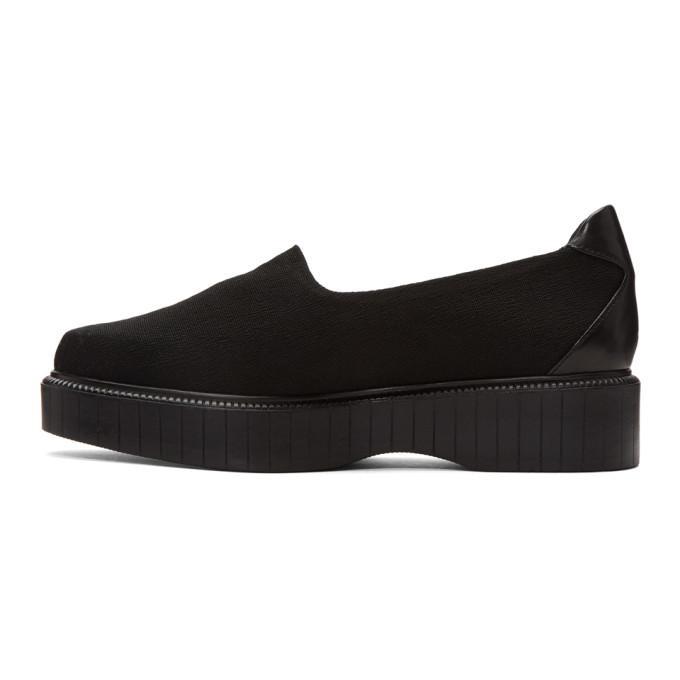 Robert Clergerie Leather Black Pauli Jersey Slip-on Sneakers