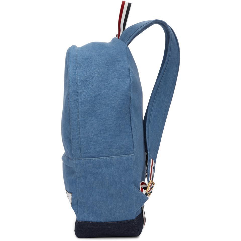 Thom Browne Blue Denim Unstructured Backpack for Men