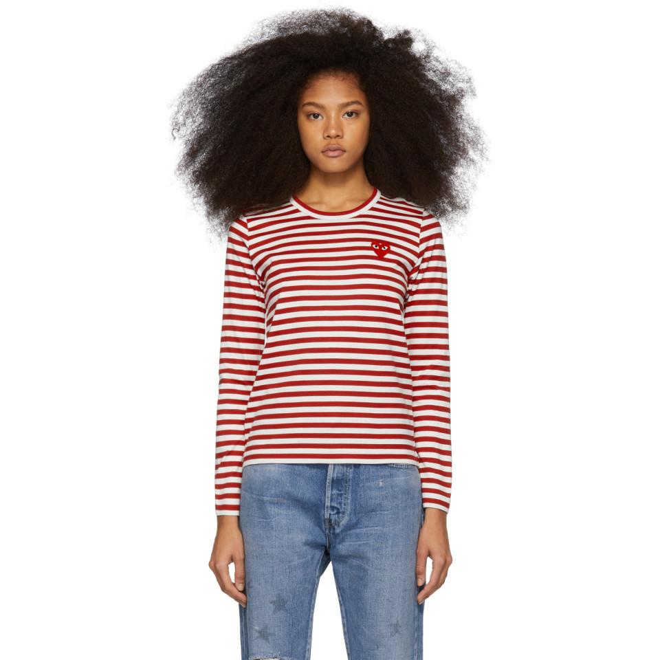 072b725bd0 COMME DES GARÇONS PLAY. Women's Red And White Striped Heart Patch Long  Sleeve T-shirt