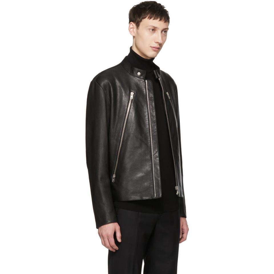 7a3463933 Maison Margiela Black 5-zip Leather Jacket for men