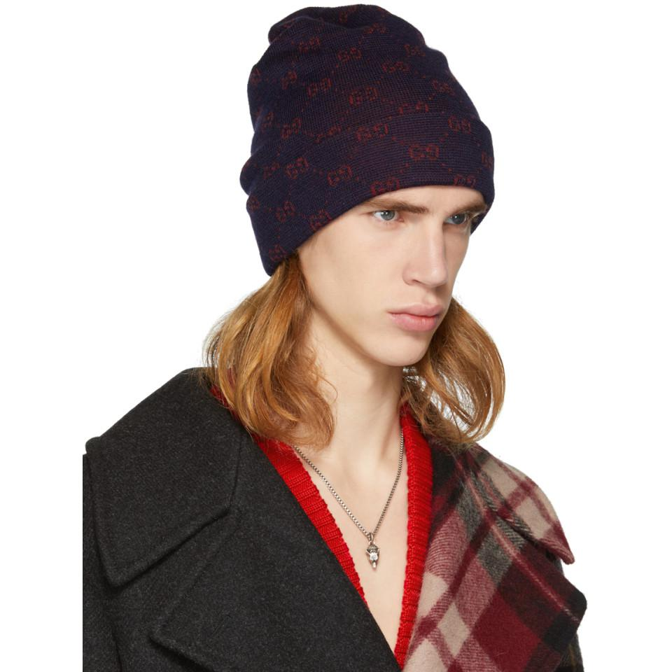 4718440fdf2c5 Gucci Navy And Red Alpaca GG Supreme Beanie in Blue for Men - Lyst