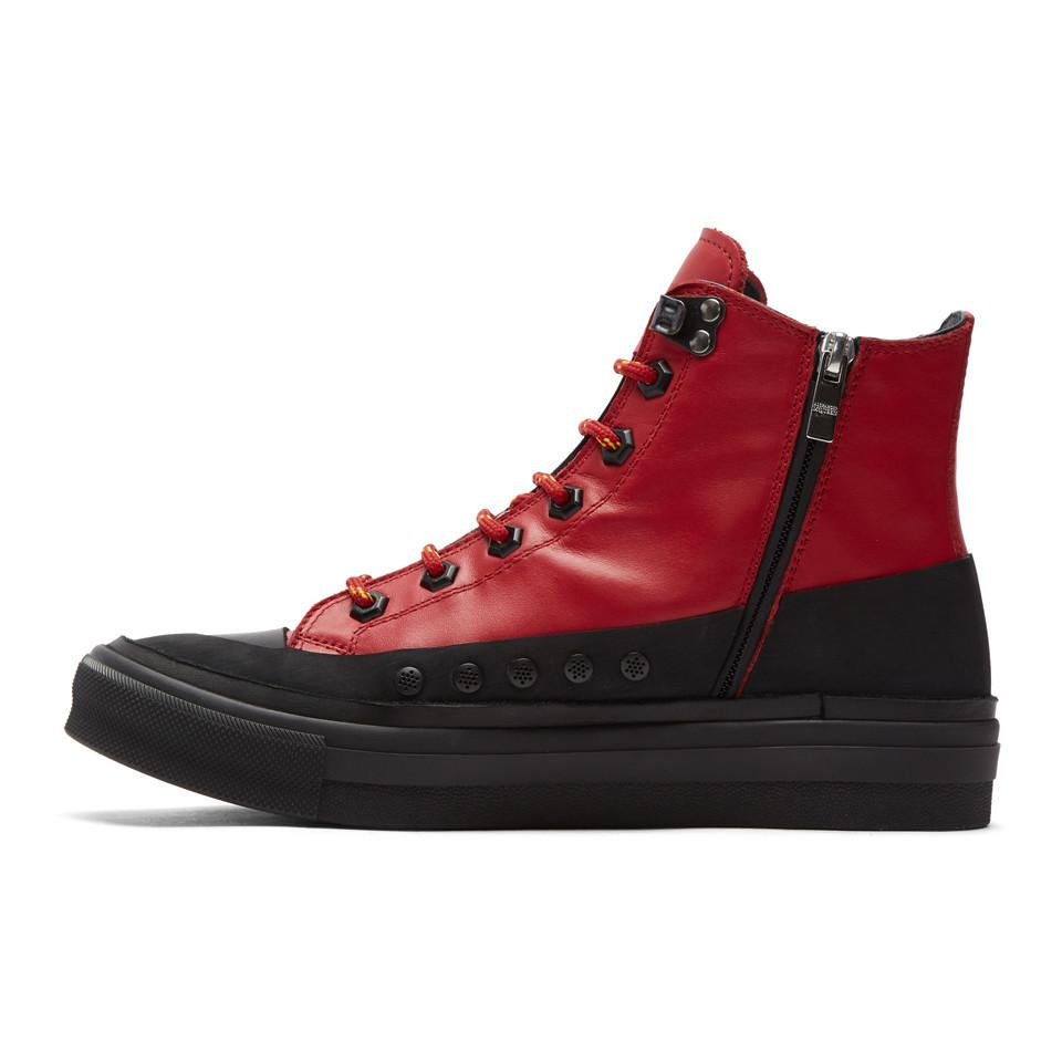 Alexander McQueen Red Leather Skeleton Patch High-Top Sneakers yxaH1f