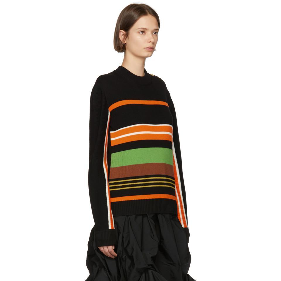 JW Anderson Wool Black And Multicolor Striped Crewneck
